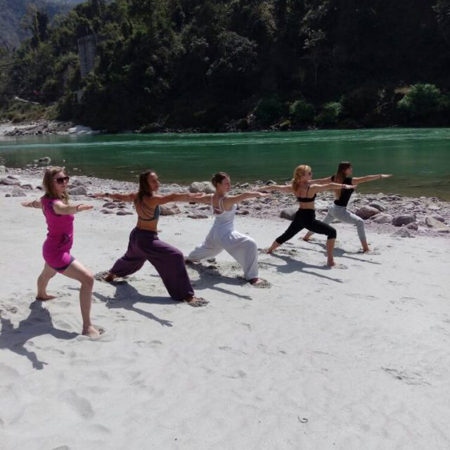 Yoga Practices on Sand